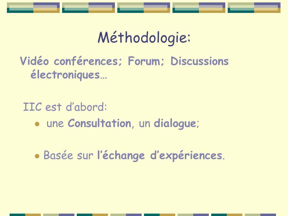 Méthodologie: Vidéo conférences; Forum; Discussions électroniques… IIC est dabord: une Consultation, un dialogue; Basée sur léchange dexpériences.