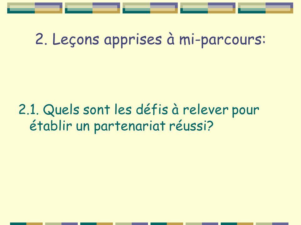 2. Leçons apprises à mi-parcours: 2.1. Quels sont les défis à relever pour établir un partenariat réussi?
