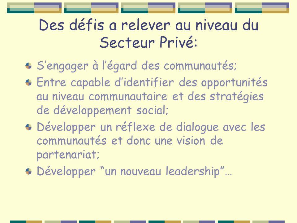 Des défis a relever au niveau du Secteur Privé: Sengager à légard des communautés; Entre capable didentifier des opportunités au niveau communautaire et des stratégies de développement social; Développer un réflexe de dialogue avec les communautés et donc une vision de partenariat; Développer un nouveau leadership…