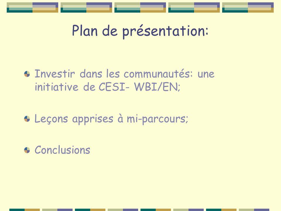 Plan de présentation: Investir dans les communautés: une initiative de CESI- WBI/EN; Leçons apprises à mi-parcours; Conclusions