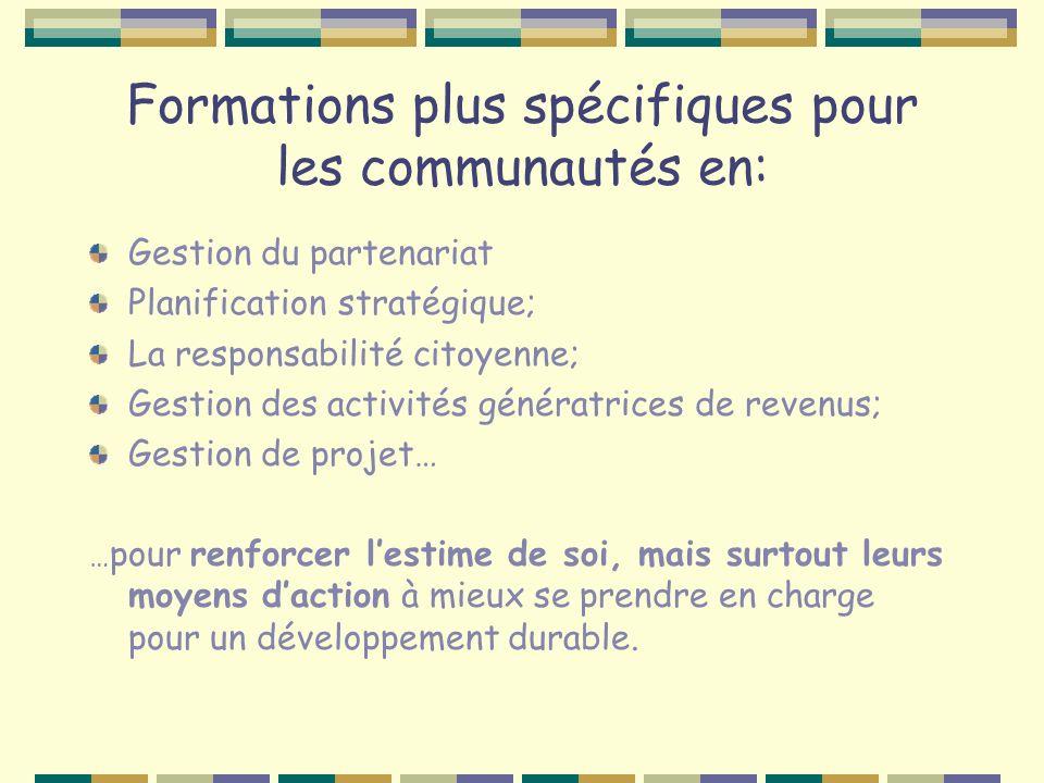 Formations plus spécifiques pour les communautés en: Gestion du partenariat Planification stratégique; La responsabilité citoyenne; Gestion des activi