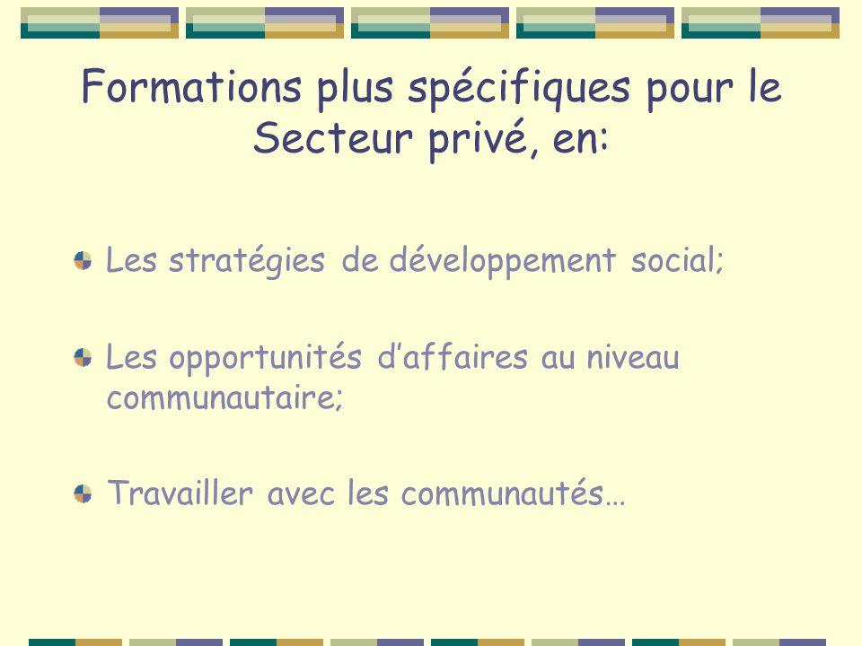 Formations plus spécifiques pour le Secteur privé, en: Les stratégies de développement social; Les opportunités daffaires au niveau communautaire; Travailler avec les communautés…