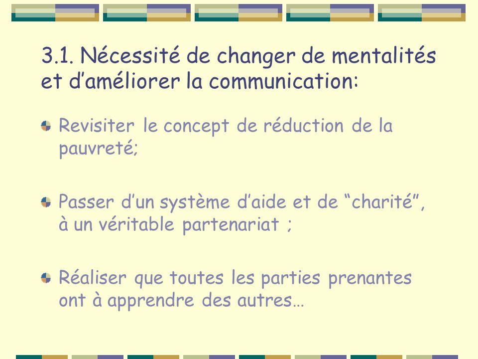 3.1. Nécessité de changer de mentalités et daméliorer la communication: Revisiter le concept de réduction de la pauvreté; Passer dun système daide et
