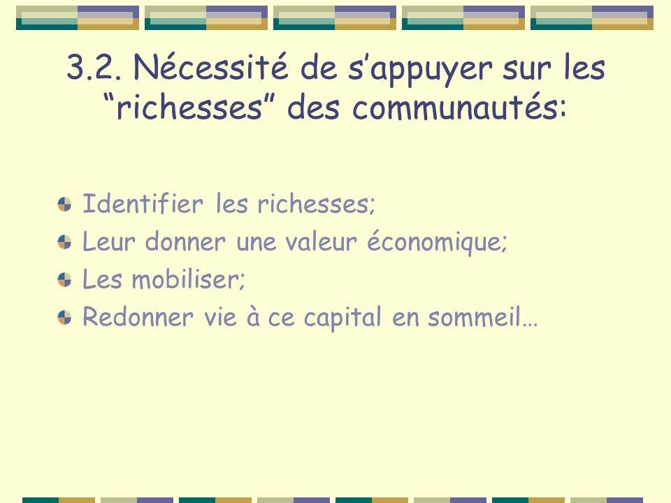 3.2. Nécessité de sappuyer sur les richesses des communautés: Identifier les richesses; Leur donner une valeur économique; Les mobiliser; Redonner vie