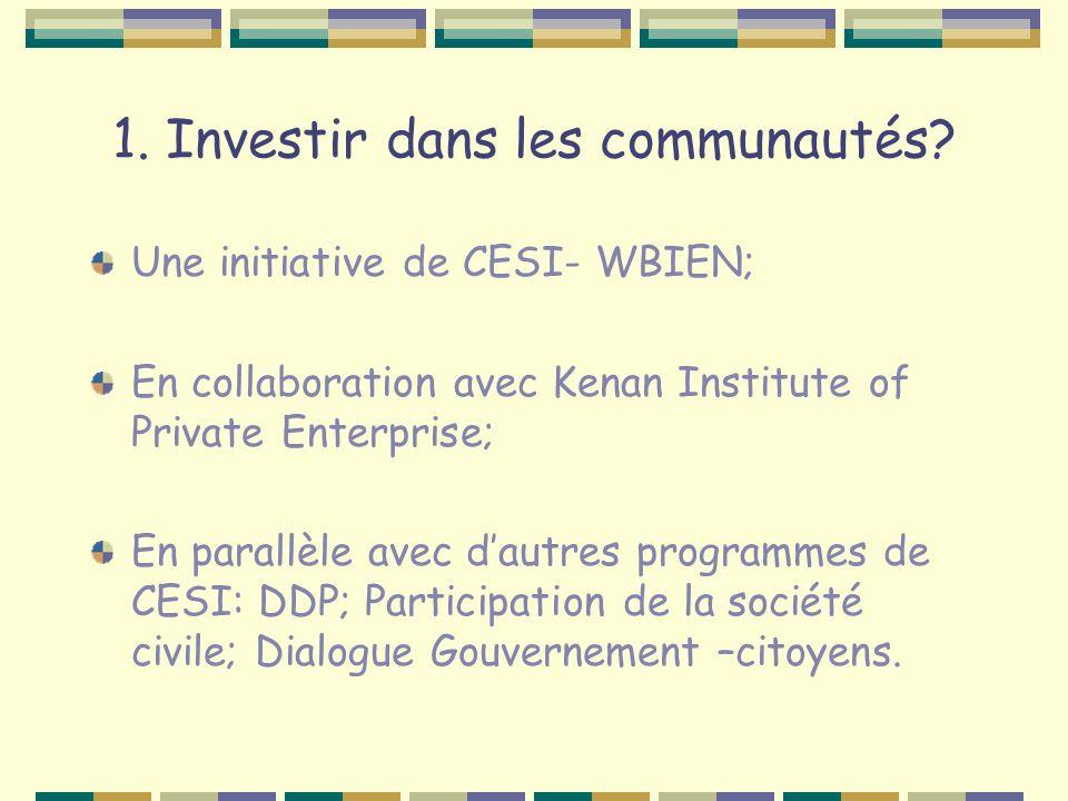 1. Investir dans les communautés? Une initiative de CESI- WBIEN; En collaboration avec Kenan Institute of Private Enterprise; En parallèle avec dautre