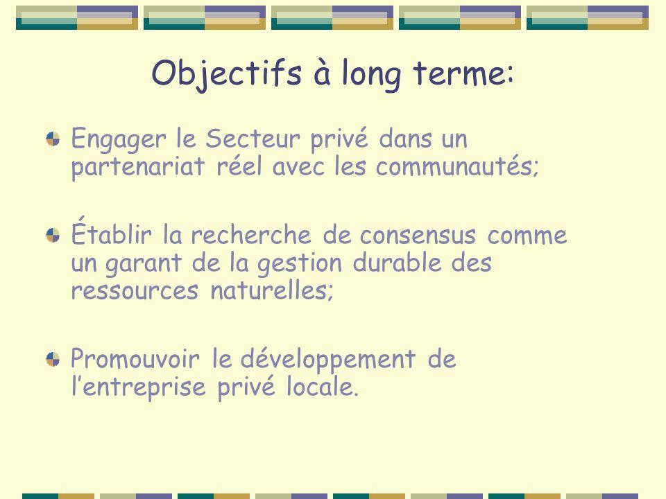 Objectifs à long terme: Engager le Secteur privé dans un partenariat réel avec les communautés; Établir la recherche de consensus comme un garant de la gestion durable des ressources naturelles; Promouvoir le développement de lentreprise privé locale.