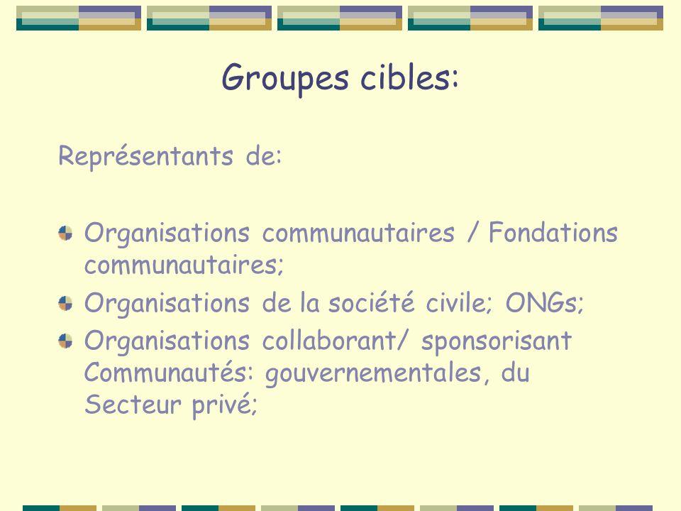Groupes cibles: Représentants de: Organisations communautaires / Fondations communautaires; Organisations de la société civile; ONGs; Organisations collaborant/ sponsorisant Communautés: gouvernementales, du Secteur privé;