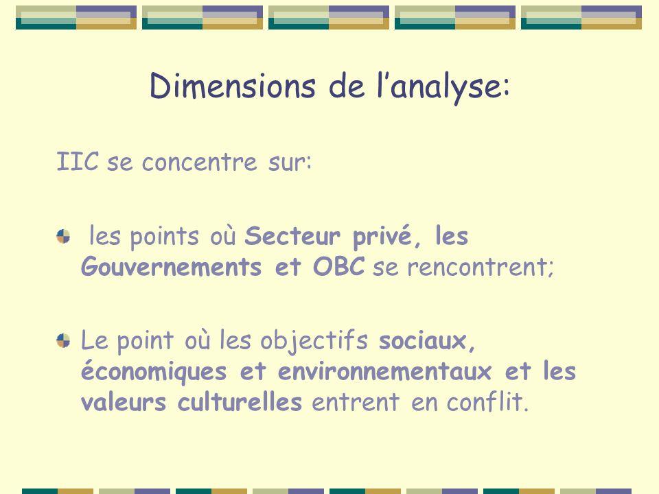 Dimensions de lanalyse: IIC se concentre sur: les points où Secteur privé, les Gouvernements et OBC se rencontrent; Le point où les objectifs sociaux, économiques et environnementaux et les valeurs culturelles entrent en conflit.