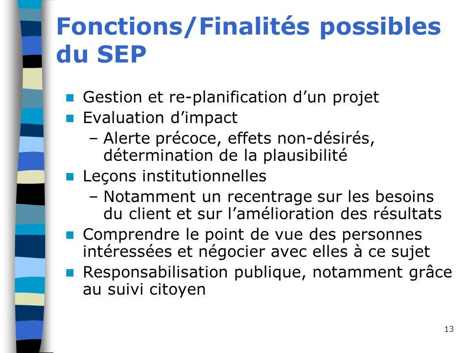 13 Fonctions/Finalités possibles du SEP Gestion et re-planification dun projet Evaluation dimpact –Alerte précoce, effets non-désirés, détermination d