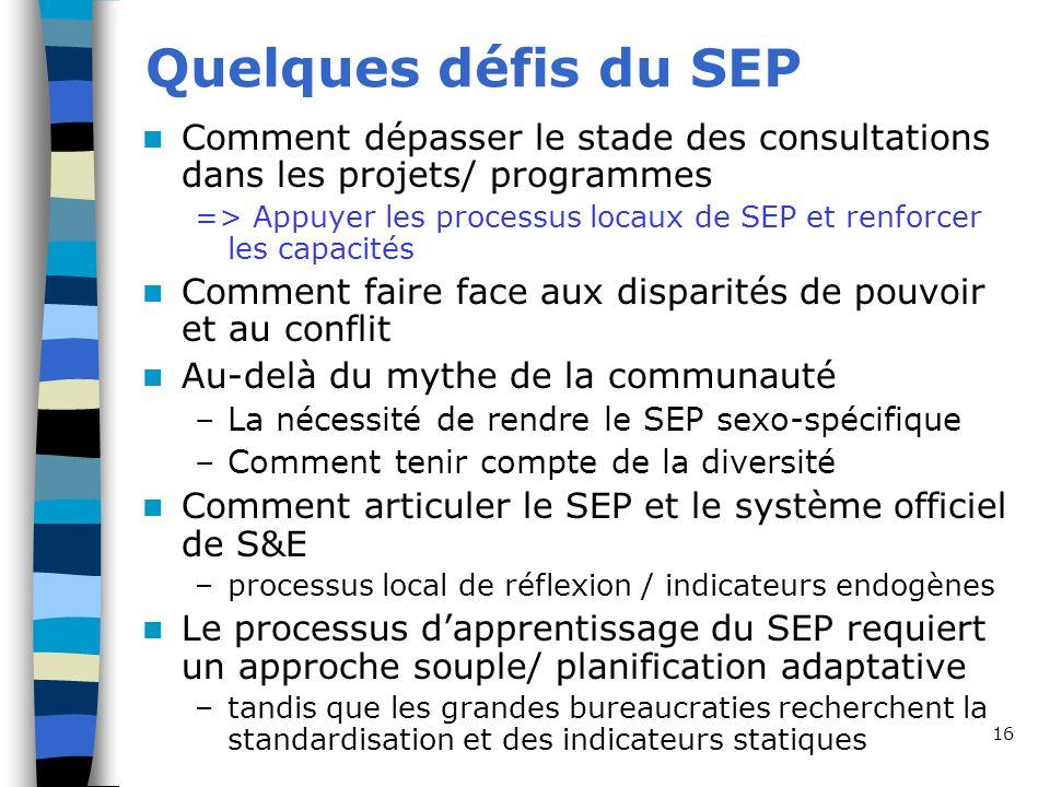 16 Quelques défis du SEP Comment dépasser le stade des consultations dans les projets/ programmes => Appuyer les processus locaux de SEP et renforcer