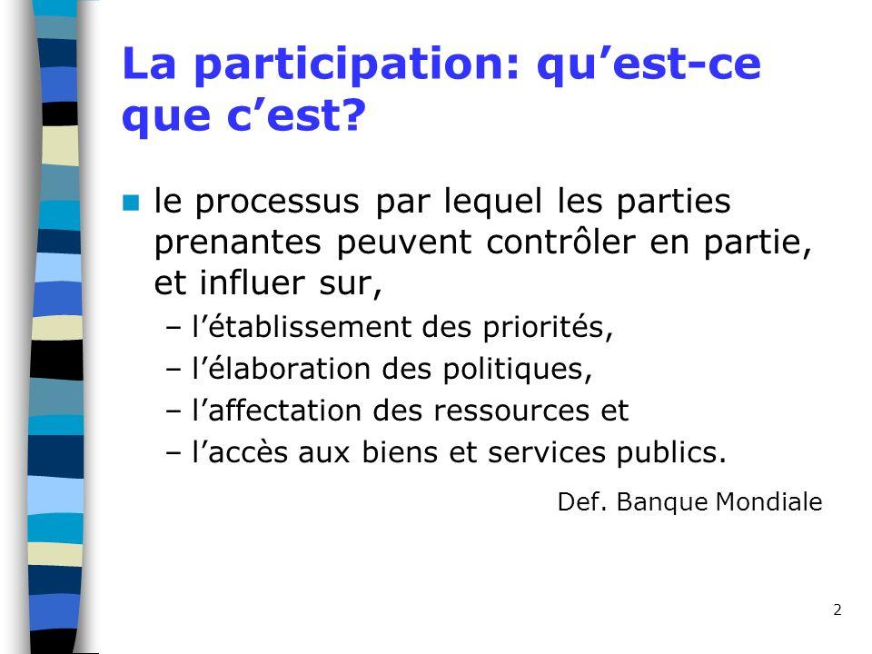 2 La participation: quest-ce que cest? le processus par lequel les parties prenantes peuvent contrôler en partie, et influer sur, –létablissement des