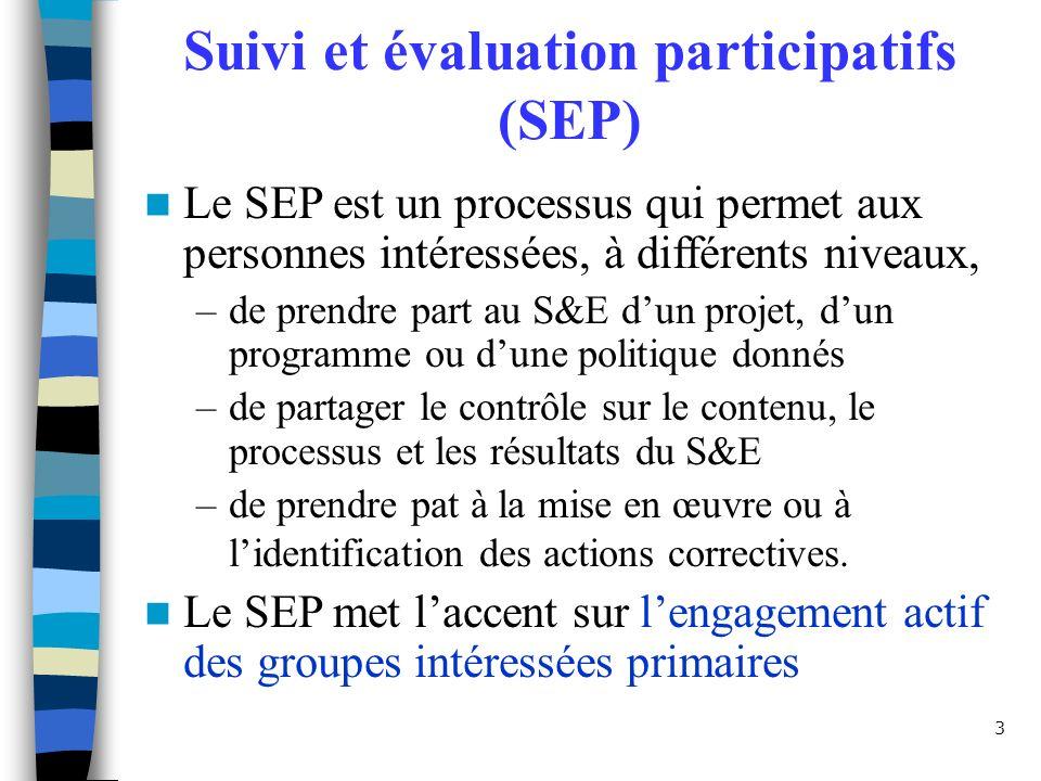 3 Suivi et évaluation participatifs (SEP) Le SEP est un processus qui permet aux personnes intéressées, à différents niveaux, –de prendre part au S&E