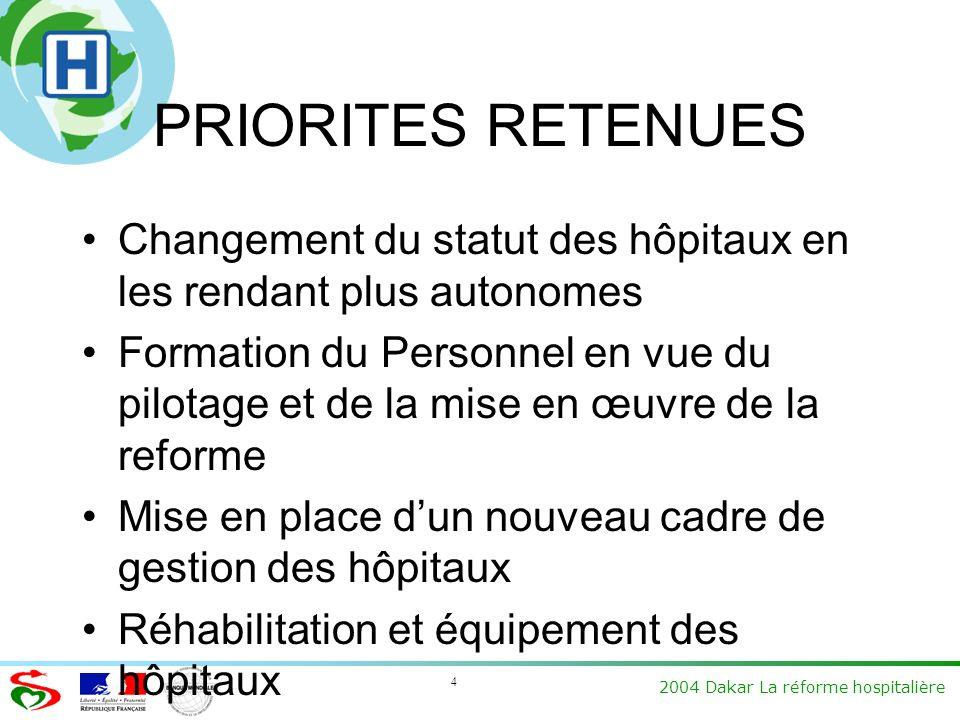 4 2004 Dakar La réforme hospitalière PRIORITES RETENUES Changement du statut des hôpitaux en les rendant plus autonomes Formation du Personnel en vue du pilotage et de la mise en œuvre de la reforme Mise en place dun nouveau cadre de gestion des hôpitaux Réhabilitation et équipement des hôpitaux