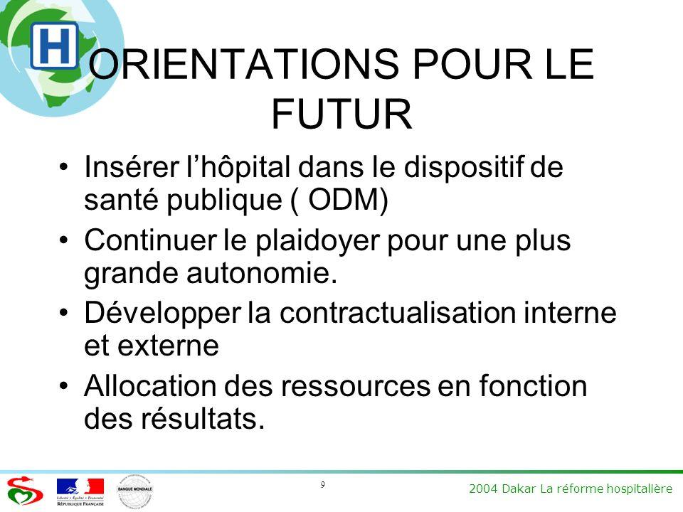 9 2004 Dakar La réforme hospitalière ORIENTATIONS POUR LE FUTUR Insérer lhôpital dans le dispositif de santé publique ( ODM) Continuer le plaidoyer pour une plus grande autonomie.