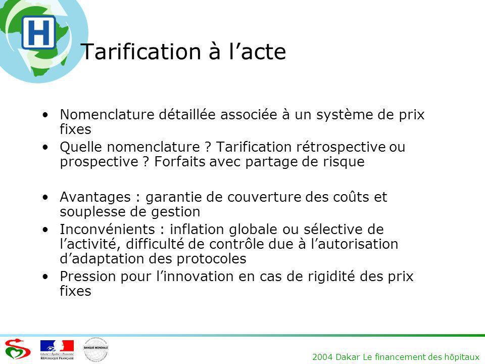 2004 Dakar Le financement des hôpitaux Tarification à lacte Nomenclature détaillée associée à un système de prix fixes Quelle nomenclature ? Tarificat