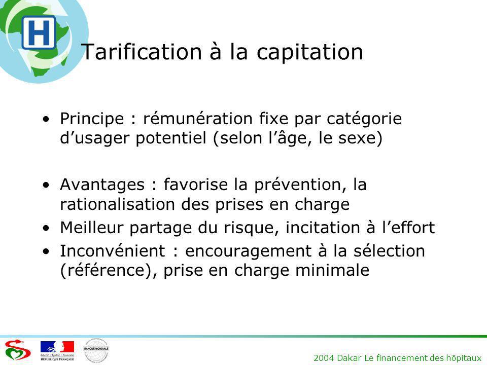 2004 Dakar Le financement des hôpitaux Tarification à la capitation Principe : rémunération fixe par catégorie dusager potentiel (selon lâge, le sexe)