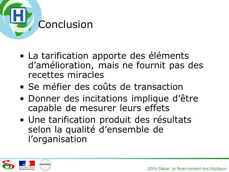 2004 Dakar Le financement des hôpitaux Conclusion La tarification apporte des éléments damélioration, mais ne fournit pas des recettes miracles Se méf