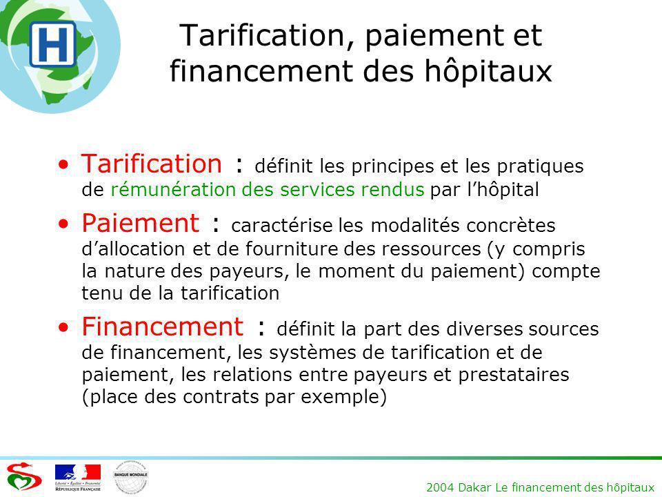 2004 Dakar Le financement des hôpitaux Tarification, paiement et financement des hôpitaux Tarification : définit les principes et les pratiques de rém