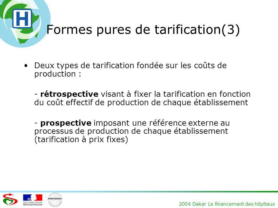 2004 Dakar Le financement des hôpitaux Formes pures de tarification(3) Deux types de tarification fondée sur les coûts de production : - rétrospective