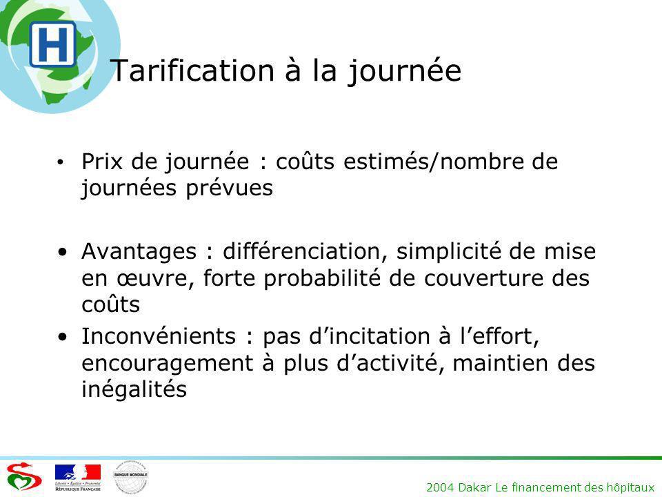 2004 Dakar Le financement des hôpitaux Tarification à la journée Prix de journée : coûts estimés/nombre de journées prévues Avantages : différenciatio