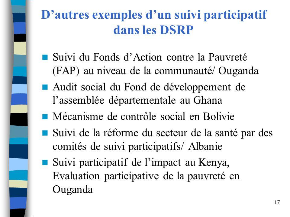 17 Dautres exemples dun suivi participatif dans les DSRP Suivi du Fonds dAction contre la Pauvreté (FAP) au niveau de la communauté/ Ouganda Audit social du Fond de développement de lassemblée départementale au Ghana Mécanisme de contrôle social en Bolivie Suivi de la réforme du secteur de la santé par des comités de suivi participatifs/ Albanie Suivi participatif de limpact au Kenya, Evaluation participative de la pauvreté en Ouganda