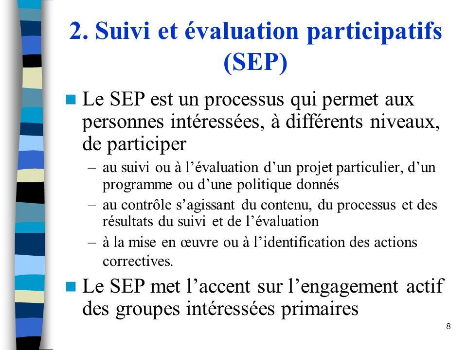 8 2. Suivi et évaluation participatifs (SEP) Le SEP est un processus qui permet aux personnes intéressées, à différents niveaux, de participer –au sui