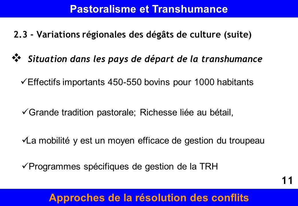 2.3 - Variations régionales des dégâts de culture (suite) Situation dans les pays de départ de la transhumance Grande tradition pastorale; Richesse li
