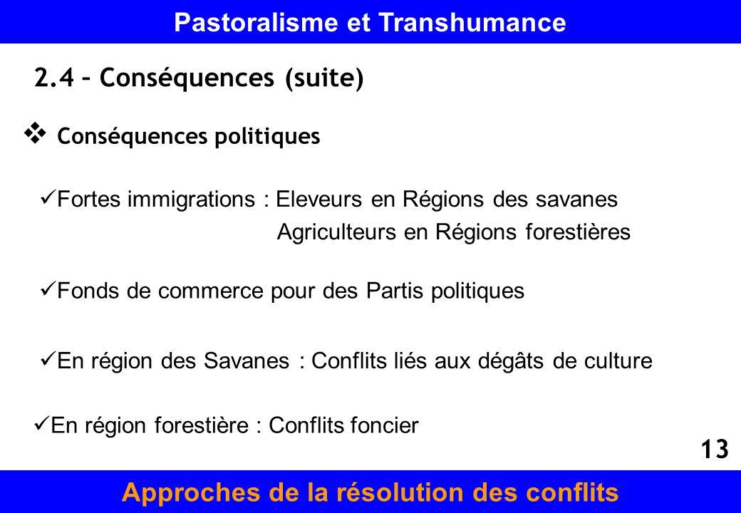 2.4 – Conséquences (suite) Conséquences politiques Fonds de commerce pour des Partis politiques En région des Savanes : Conflits liés aux dégâts de cu