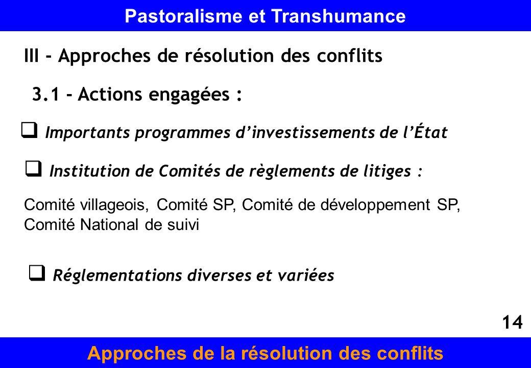 III - Approches de résolution des conflits 3.1 - Actions engagées : Importants programmes dinvestissements de lÉtat Institution de Comités de règlemen