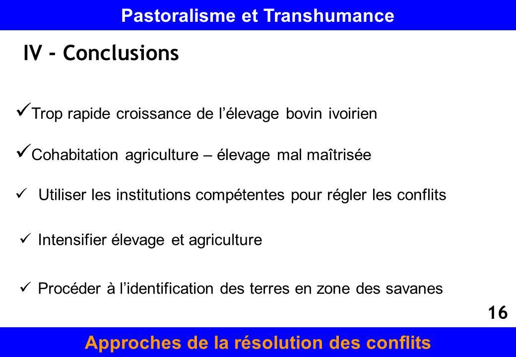 IV - Conclusions Cohabitation agriculture – élevage mal maîtrisée Utiliser les institutions compétentes pour régler les conflits Intensifier élevage e