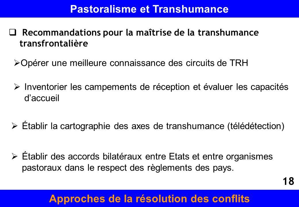 Recommandations pour la maîtrise de la transhumance transfrontalière Opérer une meilleure connaissance des circuits de TRH Inventorier les campements