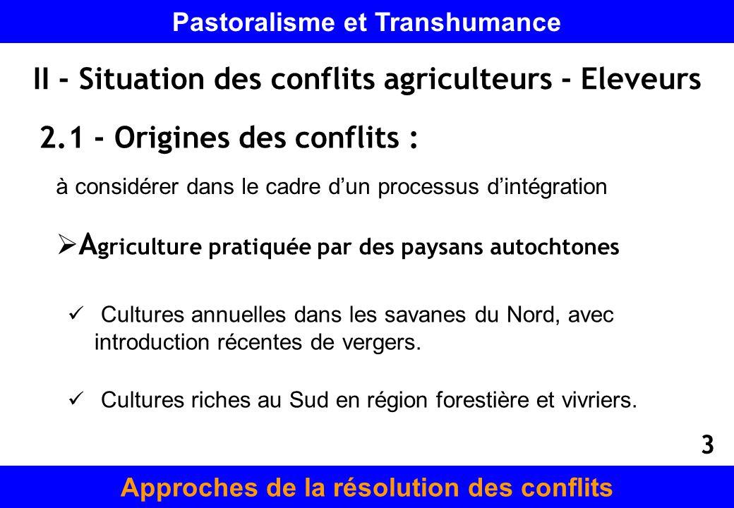 II - Situation des conflits agriculteurs - Eleveurs 2.1 - Origines des conflits : à considérer dans le cadre dun processus dintégration A griculture p