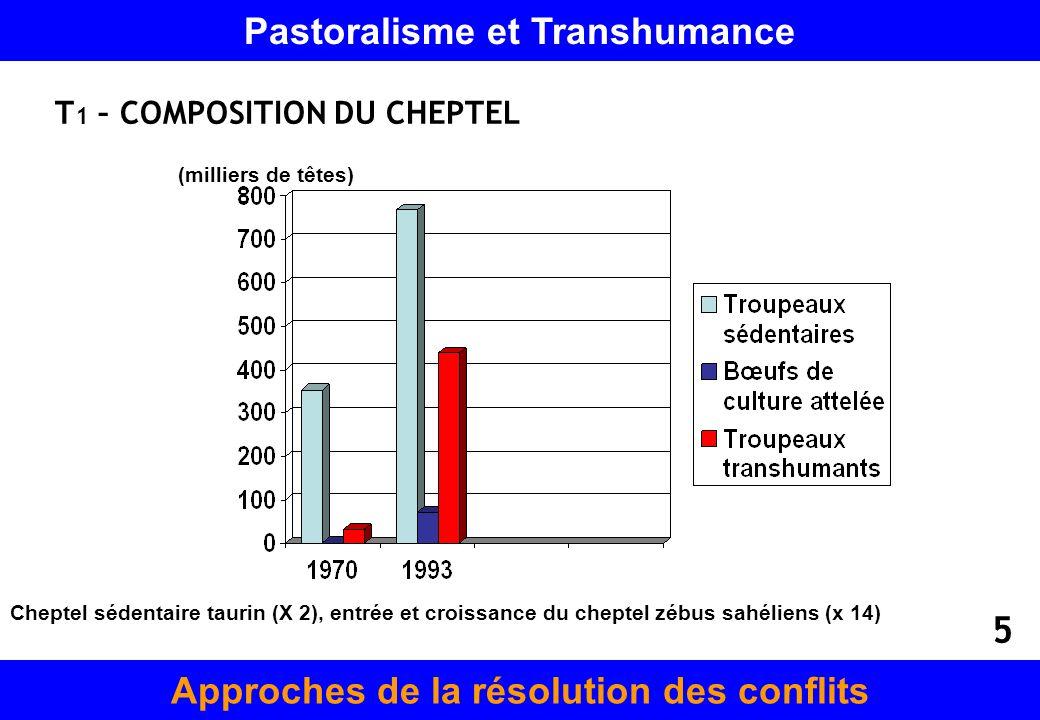 T 1 – COMPOSITION DU CHEPTEL (milliers de têtes) Cheptel sédentaire taurin (X 2), entrée et croissance du cheptel zébus sahéliens (x 14) Pastoralisme