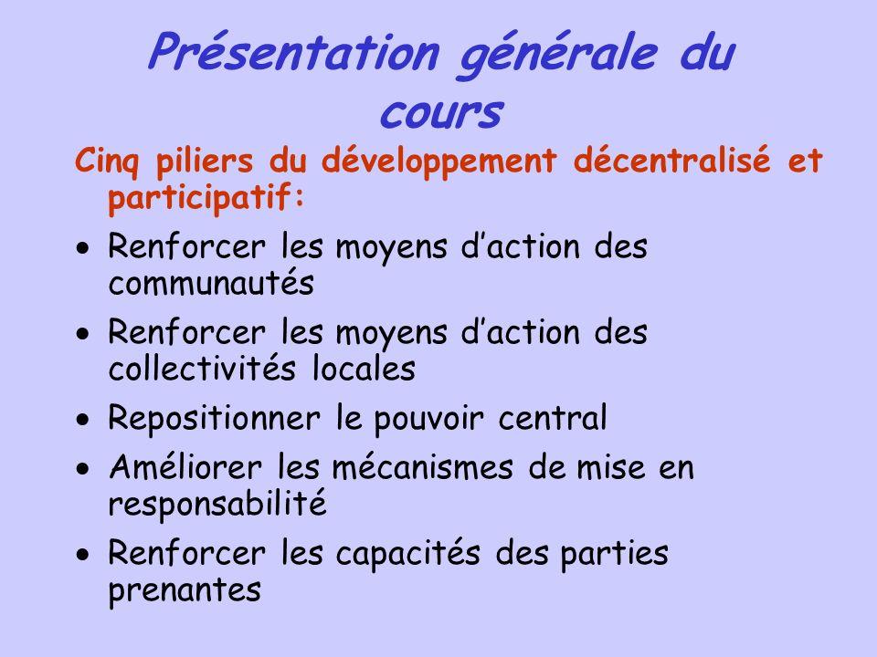 Présentation générale du cours Cinq piliers du développement décentralisé et participatif: Renforcer les moyens daction des communautés Renforcer les