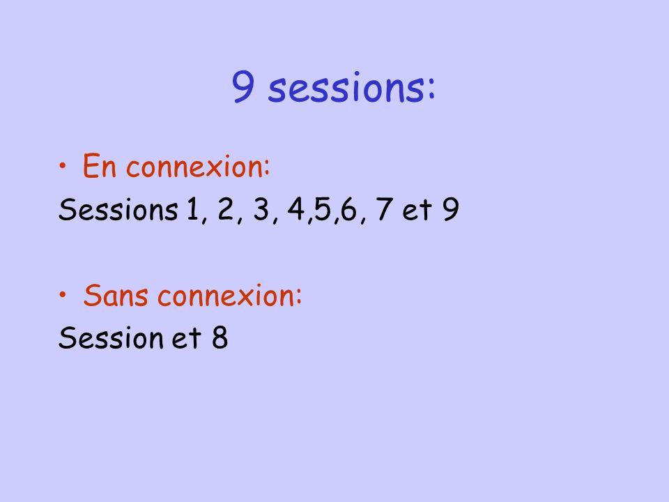 9 sessions: En connexion: Sessions 1, 2, 3, 4,5,6, 7 et 9 Sans connexion: Session et 8