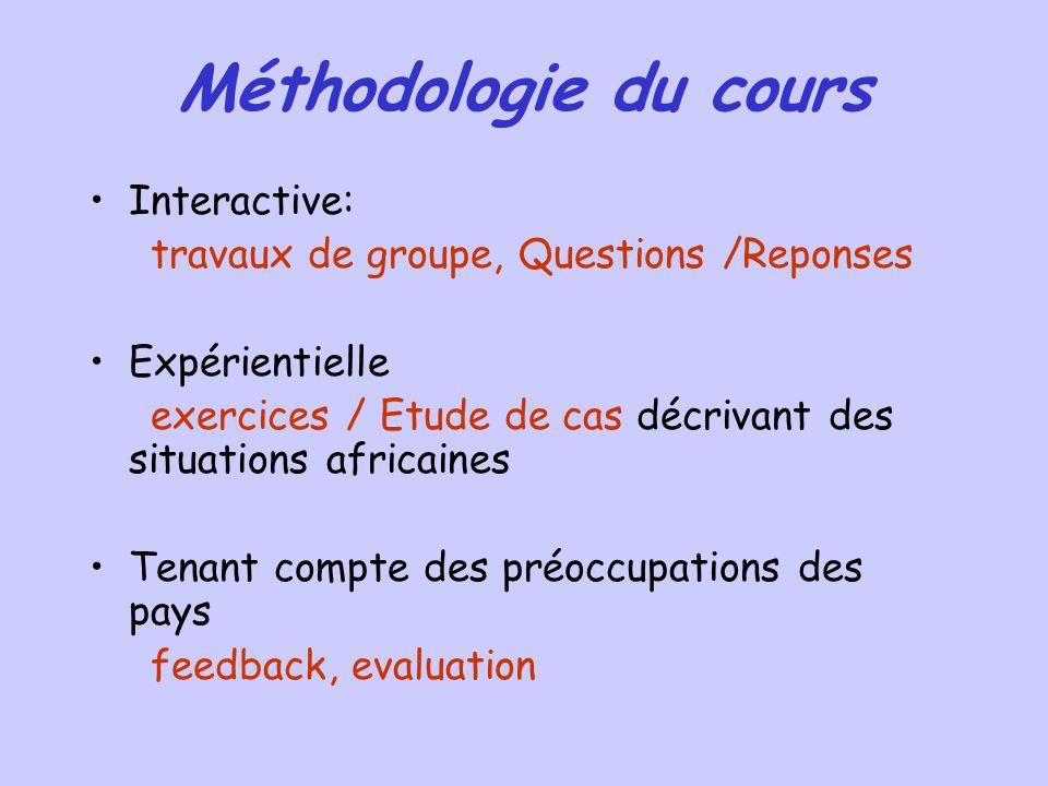 Méthodologie du cours Interactive: travaux de groupe, Questions /Reponses Expérientielle exercices / Etude de cas décrivant des situations africaines Tenant compte des préoccupations des pays feedback, evaluation