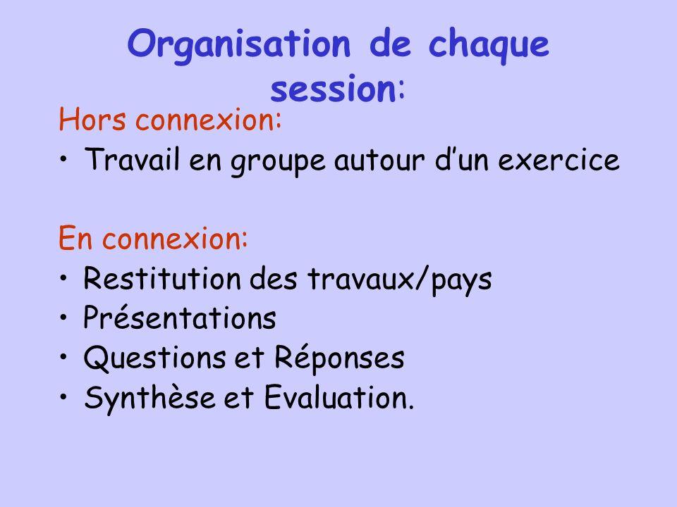 Organisation de chaque session: Hors connexion: Travail en groupe autour dun exercice En connexion: Restitution des travaux/pays Présentations Questions et Réponses Synthèse et Evaluation.