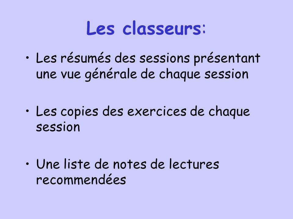 Les classeurs: Les résumés des sessions présentant une vue générale de chaque session Les copies des exercices de chaque session Une liste de notes de lectures recommendées