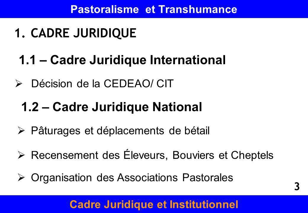Pastoralisme et Transhumance 1.CADRE JURIDIQUE Cadre Juridique et Institutionnel 1.1 – Cadre Juridique International Décision de la CEDEAO/ CIT Pâtura