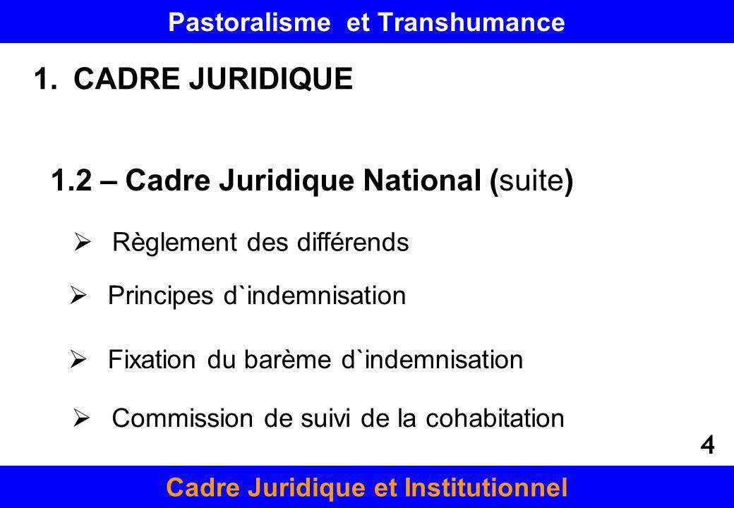 Pastoralisme et Transhumance Cadre Juridique et Institutionnel Fixation du barème d`indemnisation Commission de suivi de la cohabitation 1.CADRE JURID