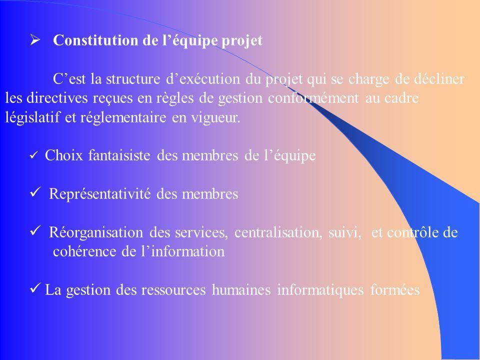 Constitution de léquipe projet Cest la structure dexécution du projet qui se charge de décliner les directives reçues en règles de gestion conformément au cadre législatif et réglementaire en vigueur.