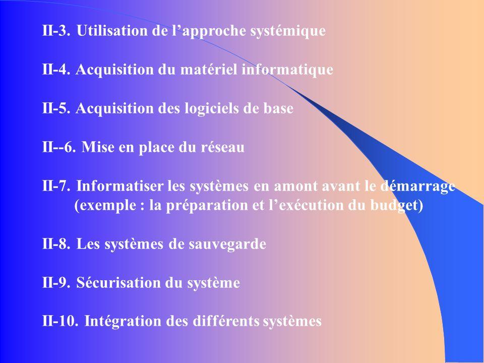 II-3. Utilisation de lapproche systémique II-4. Acquisition du matériel informatique II-5.