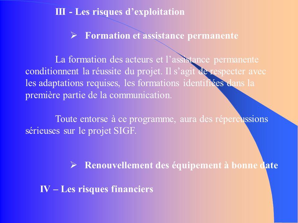III - Les risques dexploitation Formation et assistance permanente La formation des acteurs et lassistance permanente conditionnent la réussite du projet.