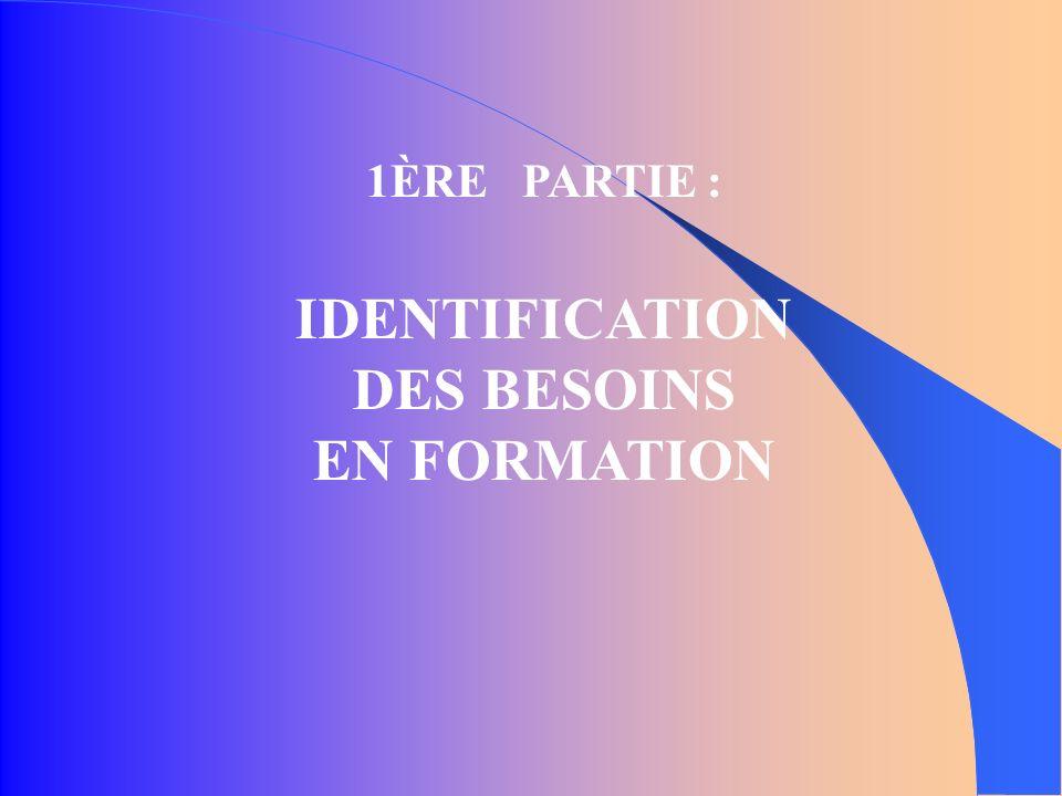 1ÈRE PARTIE : IDENTIFICATION DES BESOINS EN FORMATION