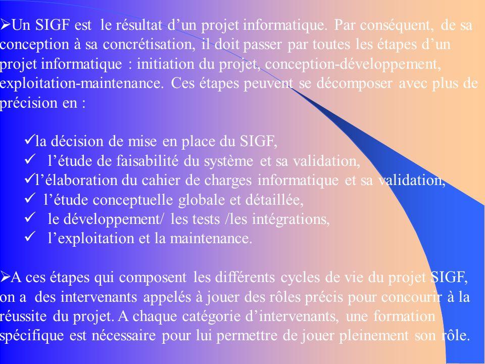 Un SIGF est le résultat dun projet informatique.