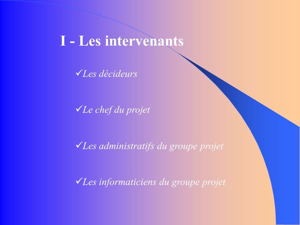 I - Les intervenants Les décideurs Le chef du projet Les administratifs du groupe projet Les informaticiens du groupe projet