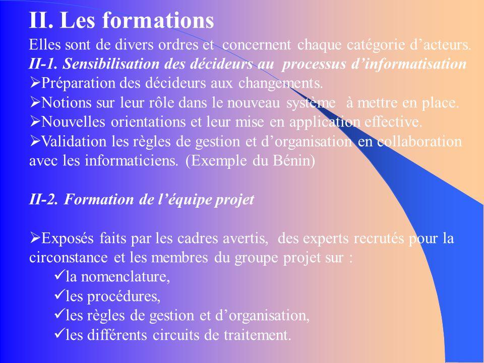 II. Les formations Elles sont de divers ordres et concernent chaque catégorie dacteurs.