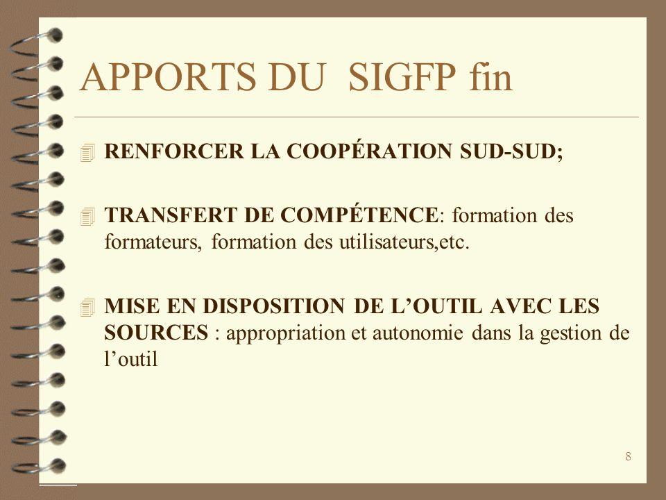 7 APPORTS DU SIGFP suite 4 ETENDRE LE RESEAU DEXECUTION DE LA DEPENSE (déconcentration de lordonnancement des dépenses) 4 INTÉGRER DES OPÉRATIONS de p