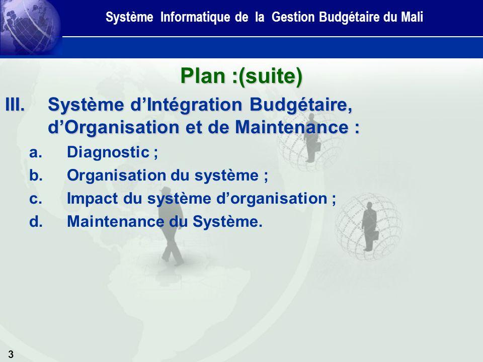 3 Plan :(suite) III.Système dIntégration Budgétaire, dOrganisation et de Maintenance : a.Diagnostic ; b.Organisation du système ; c.Impact du système dorganisation ; d.Maintenance du Système.