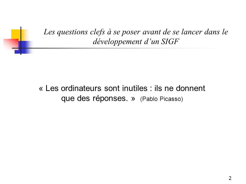 2 « Les ordinateurs sont inutiles : ils ne donnent que des réponses. » (Pablo Picasso)